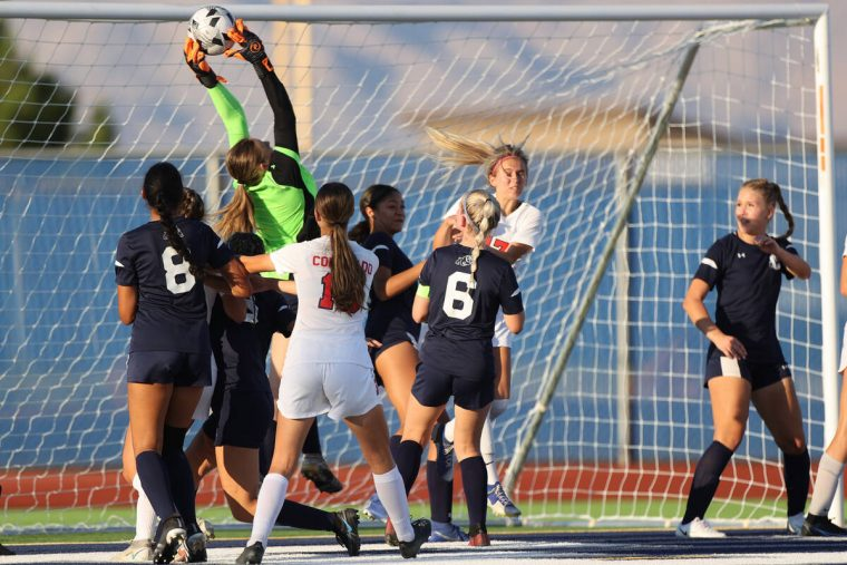 Centennial's Ava Johnson (0) catches the ball in a corner kick during the first half of a girl' ...