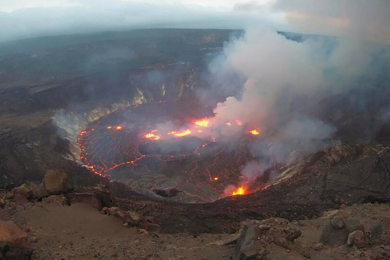 This webcam image provided by the United States Geological Survey shows a view of an eruption t ...