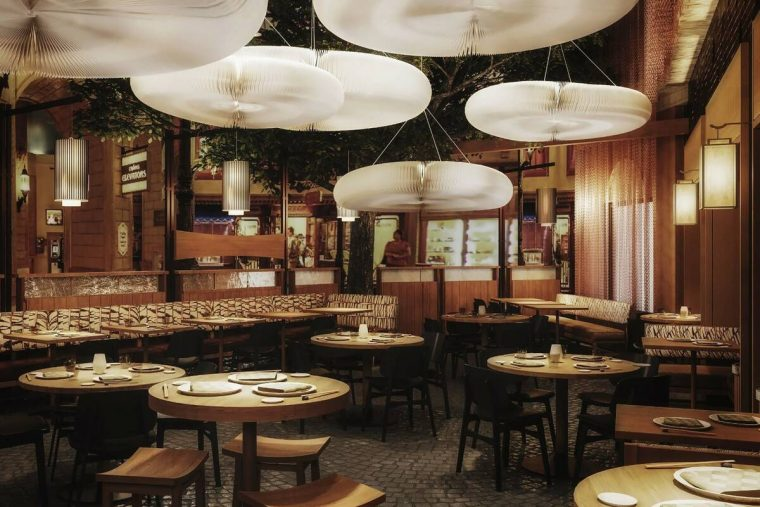 A rendering shows the main dining area for what will be Las Vegas' newest Nobu restaurant at Pa ...
