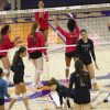 Bishop Gorman players celebrate after a play during a volleyball game at Bishop Gorman High Sch ...