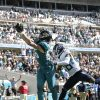 Jacksonville Jaguars tight end Dan Arnold (85) misses a pass in the end zone in front of Tennes ...