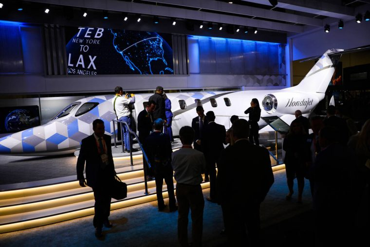 The showroom floor at the National Business Aviation Association Business Aviation Convention & ...