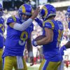 Los Angeles Rams' Cooper Kupp, second from right, celebrates his touchdown with quarterback Mat ...