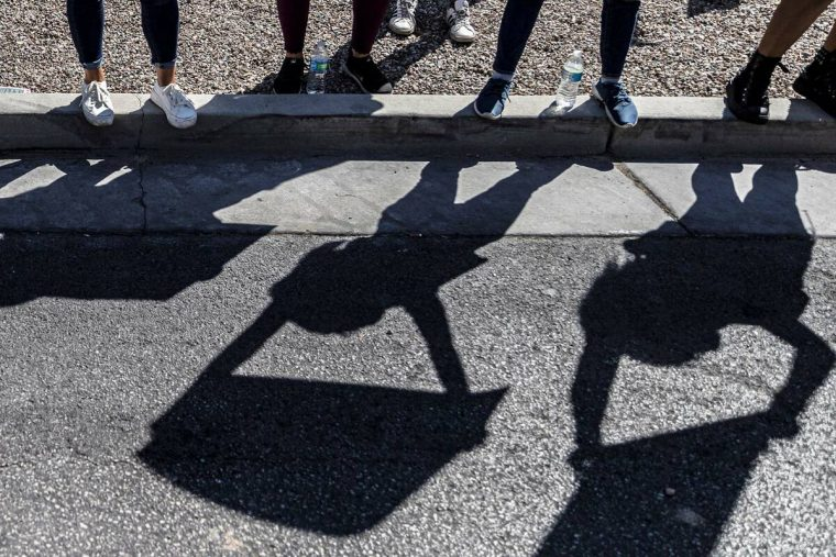 Demonstrators gather outside the Lloyd D George Courthouse during a March for Reproductive Righ ...