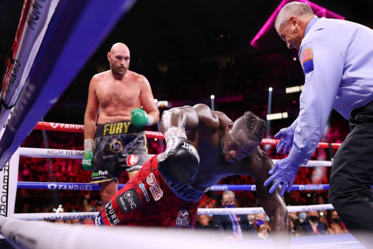Deontay Wilder is knocked out by Tyson Fury in the 11th round of the WBC Heavyweight World Cham ...