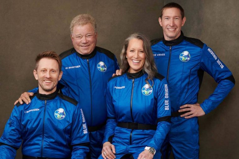This undated photo made available by Blue Origin in October 2021 shows, from left, Chris Boshui ...